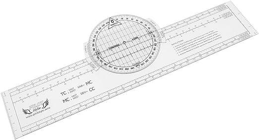 MagiDeal 13.2 x 2.4 Pulgadas Plotter Giratorio Rotatorio de Plástico para Trazado Navegación Herramienta de Entrenamiento de Vuelo: Amazon.es: Jardín