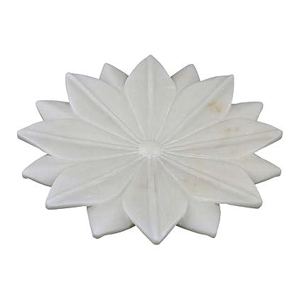 Buy Marble Stoneware Home Decor Lotus Flower Shape White 9 Inch