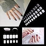 Clavos falsos cuadrados cortos de 600 piezas de uñas postizas acrílicas para salones de uñas,