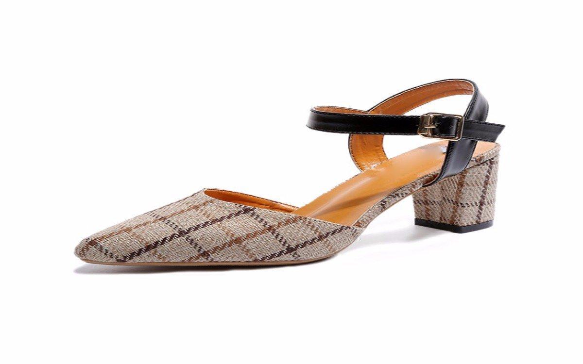 HBDLH Damenschuhe Sandalen Baotou Gewirr Gute Schuhe Checker 7Cm High Heels.