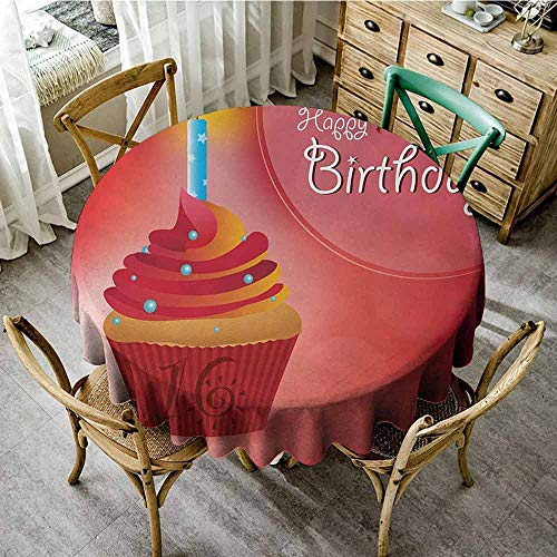 Waynekeysl Waterproof Backing Tablecloth 16th Birthday Little Cupcake with Candlestick Greeting Message Romantic Print Daily use (Round - 71