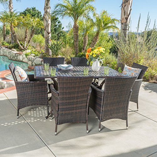 Clementine outdoor cast aluminum table dining set with for Metal patio table and chairs set