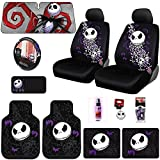 Brand New Design 15 Pieces Nightmare Before Christmas Jack Skellington Car Truck SUV Seat Covers Rubber Floor Mats Sunshade CD Visor Air Fresheners Keychain Set with Travel Size Purple Slice