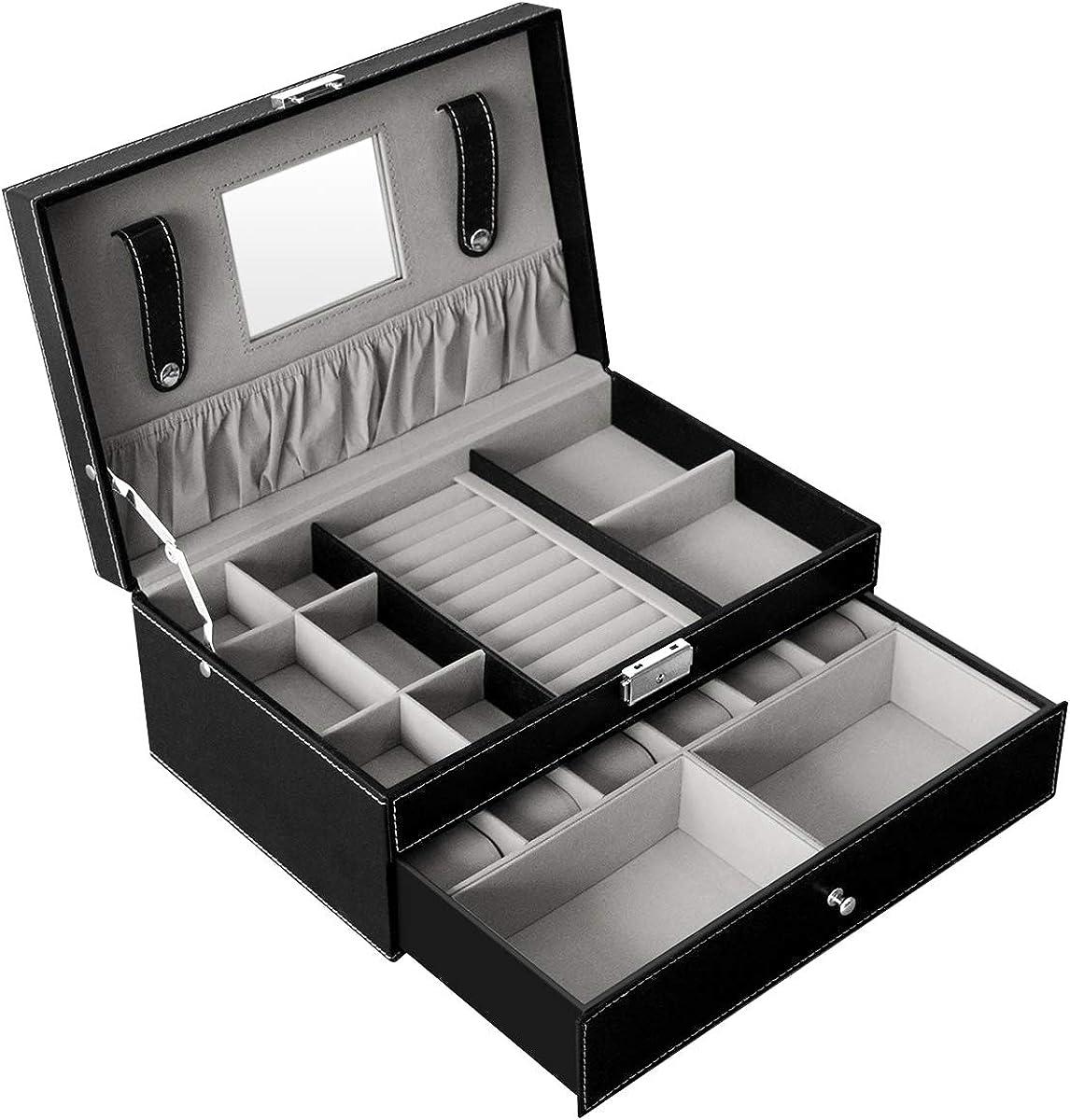 DoubleBlack Caja Joyero Organizador Bandeja para Joyas Bisuteria Relojes Armario