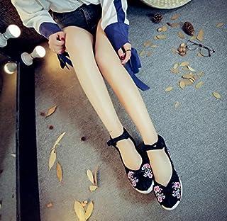 Zhang Chaussures Brod¨¦ES, Lin, Semelle tendineuse, Style Ethnique, Chaussures f¨¦Minines accrues, Mode, Confortable, d¨¦Contract¨¦, Black, 36 Chaussures fšŠMinines accrues dšŠContractšŠ huoniao