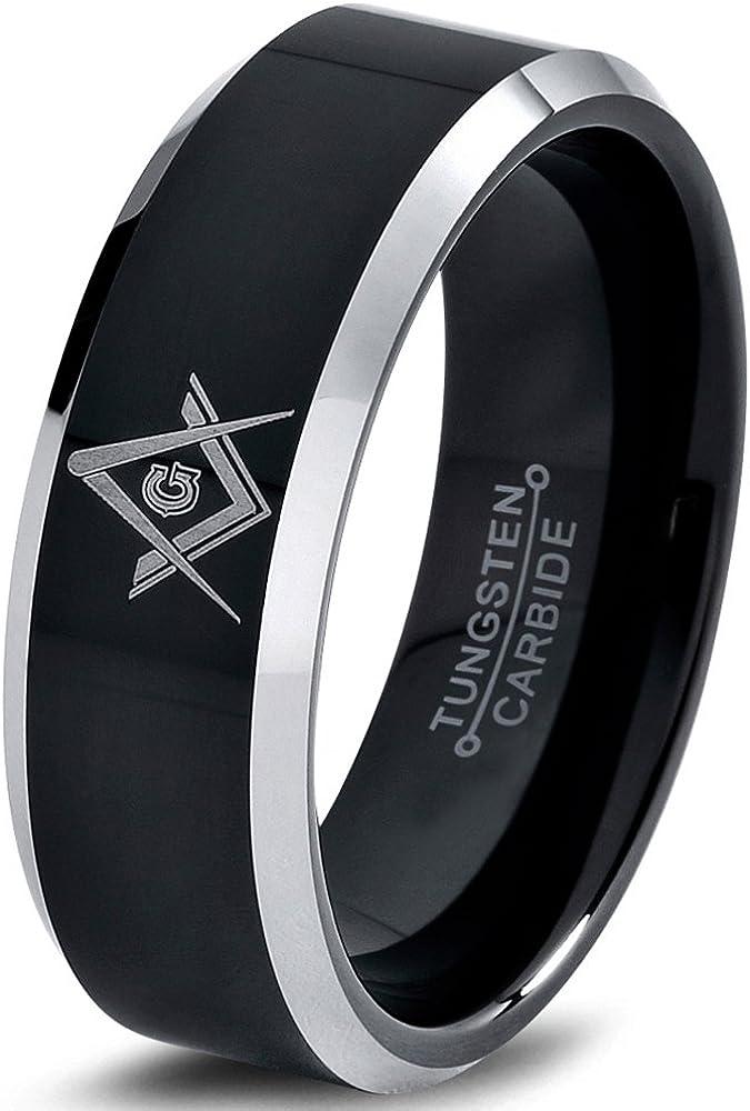 Charming Jewelers Tungsten Wedding Band Ring 8mm for Men Women Comfort Fit Mason Masonic Black Grey Beveled Edge Brushed Polished