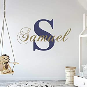 "Personalized Name & Initial Classic Edition - Prime Series - Baby Girl - Nursery Wall Decal For Baby Room Decorations - Mural Wall Decal Sticker For Home Children's Bedroom(MM39) (Wide 32""x16"" Height)"