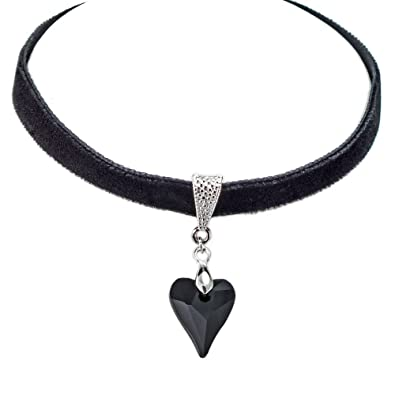 Harley's Place Velvet Choker Necklace with Black Drop Heart DfsegSCNgY