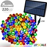Solar Christmas Lights ,Solarmks 8 Modes 220 LED Christmas String Lights with USB Charging,77ft Ambiance Lighting for Outdoor Decoration (Multi-Color)