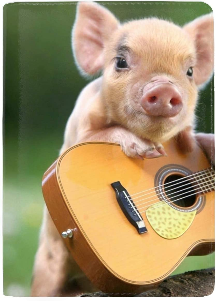 Cute Pig Playing Guitar Travel Wallet RFID Blocking Document Organizer Bag Family Passport Holder