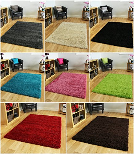 "Thick Modern Small Medium Soft Anti Shed Luxury Vibrant Shaggy Area Rugs - 8 Colours & 5 Sizes Available (Grey 2' x 3'7"")"
