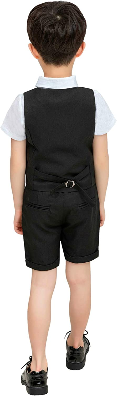 Boy Summer Suit Vest Set 3 Pieces Shirt Vest and Shorts with Bowtie