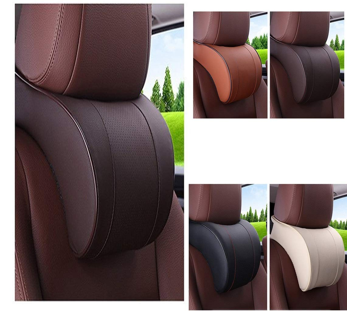 JIEJIEZ Car Neck Pillow,PU Soft Leather Memory Foam,Head Support Pillow Cushion Pad for Driving Headrest Relax,with Adjustable Strap Car Seat for Back Pain Relief (Color : A) by JIEJIEZ