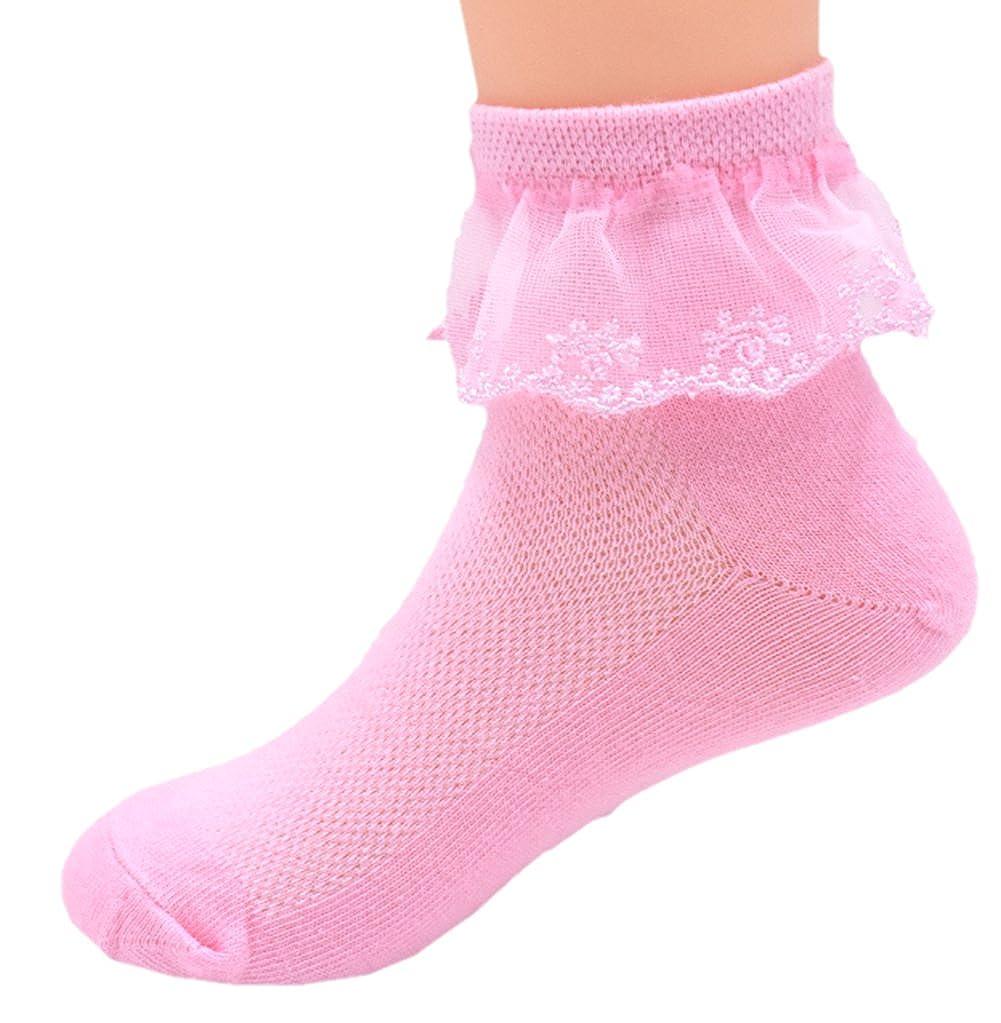 Girls Cotton Socks Lace Princess Socks Girls Ankle Dress Socks Pack of 6