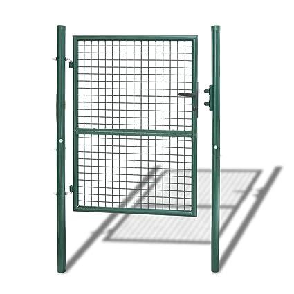 Puerta de Jardin de Malla Tubo de de Metal Acero Bisagras Galvanizadas y Ajustables con Cerradura Malla Valla Verde Φ5mm Redonda 125 x 100cm
