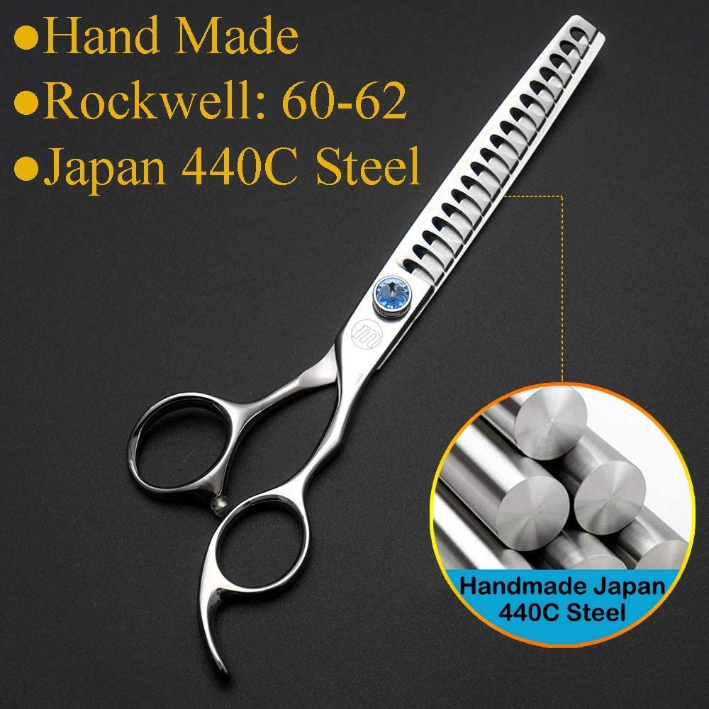 Moontay Professional 7.0 Dog Grooming Chunkers Scissors Japan 440C Stainless Steel for Pet Groomers or Family DIY Use Upward Curved Pets Grooming Thinning//Blending Shears