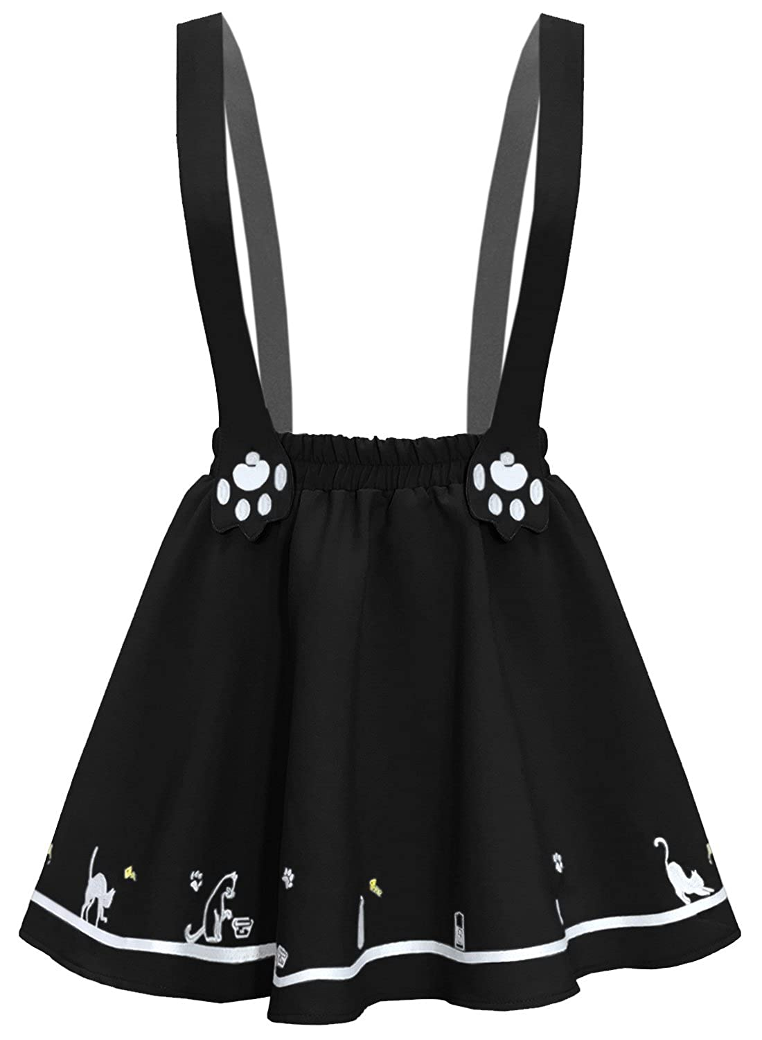 Futurino Women S Sweet Cat Paw Embroidery Pleated Mini Skirt With 2 Suspender