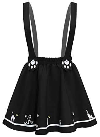 Futurino Women's Sweet Cat Paw Embroidery Pleated Mini Skirt with 2  Suspender (XS/S