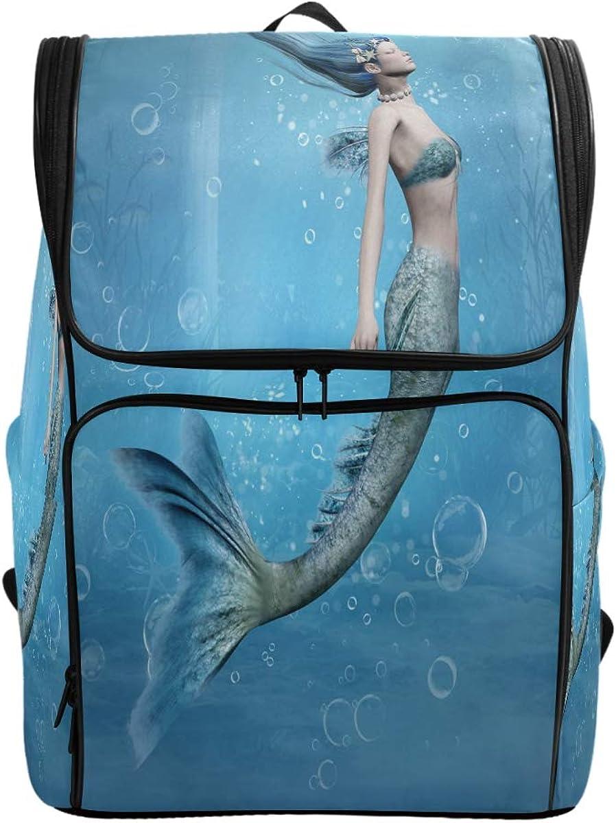 Naanle Beautiful Underwater Swimming Mermaid Print Casual Daypack College Students Multipurpose Backpack Large Travel Hiking Bags Computer Bag for Girl Women,Green