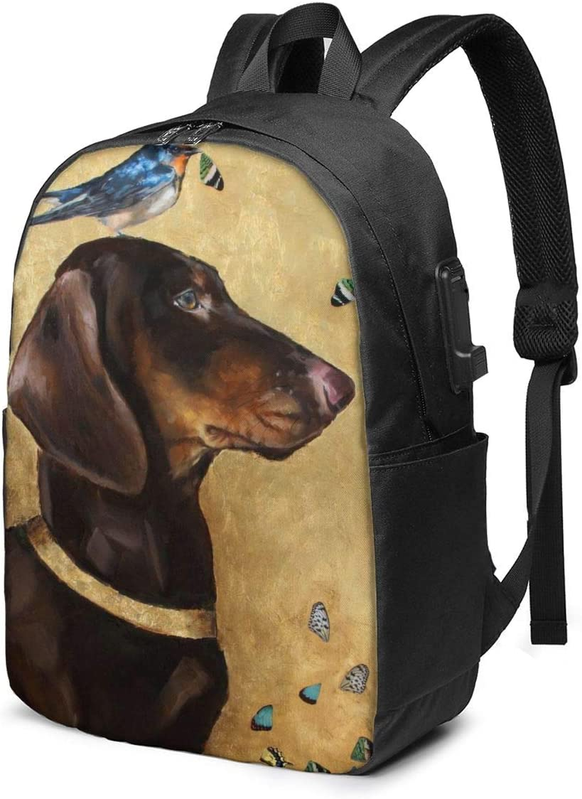 New Year Charm Saint Bernard Dog Personality 17 Inch College School Computer Bag Laptop Backpack with USB Charging Port for Women Men College Student Travel Outdoor Camping Daypack