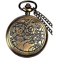 Doctor Who Pocket Watch Dr. Who Men Quartz Chain Bronze Pendant Necklace Case Antique Full Hunter