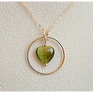 """Olive Green Cats Eye Glass Heart Frame Pendant Necklace Chain Gold Filled 18"""""""