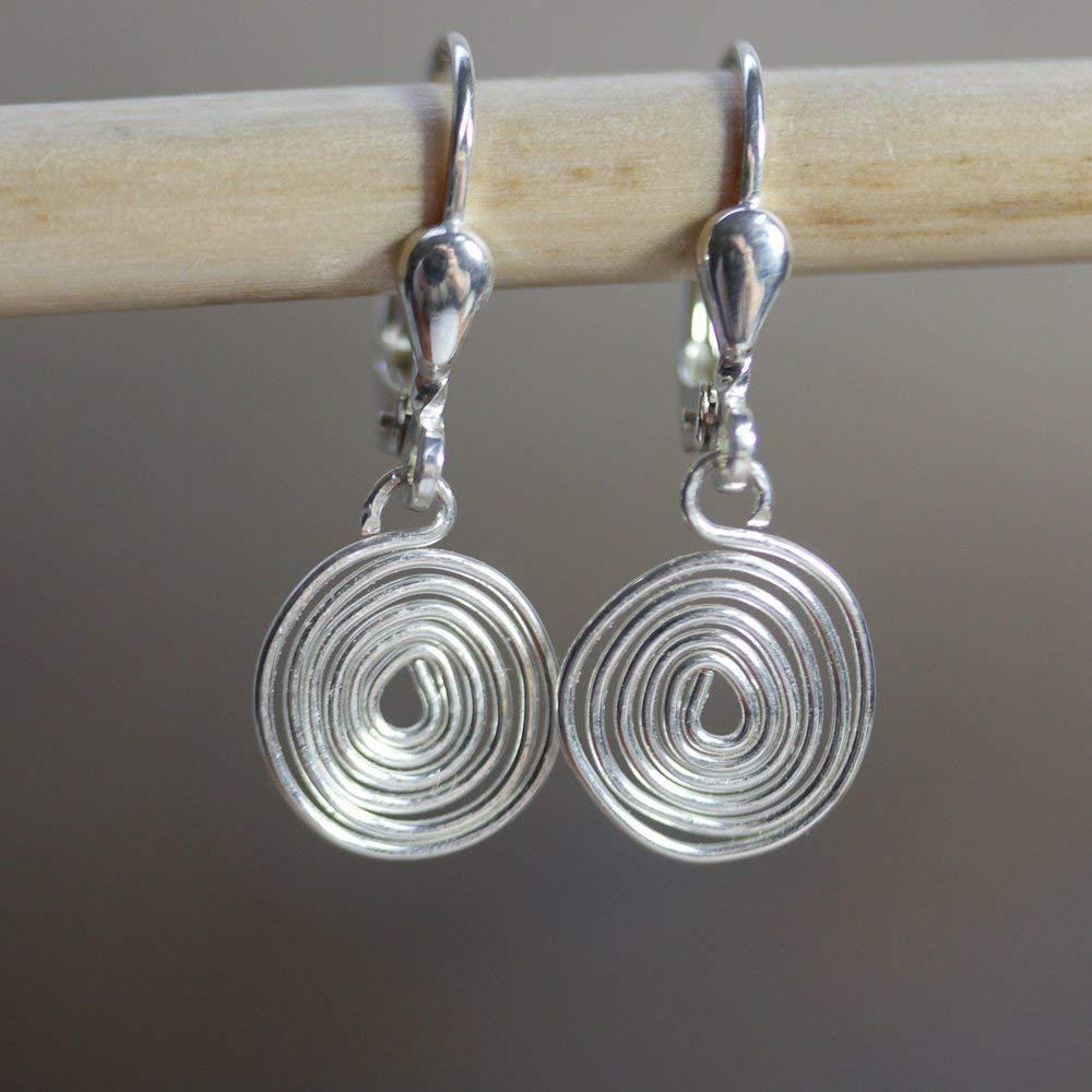 Silber-Ohrringe mit hand-gebogener gehä mmerter Spirale - auch mit Ohr-Clips oder allergie-freiem Chirurgen-Stahl - super leicht und bequehm