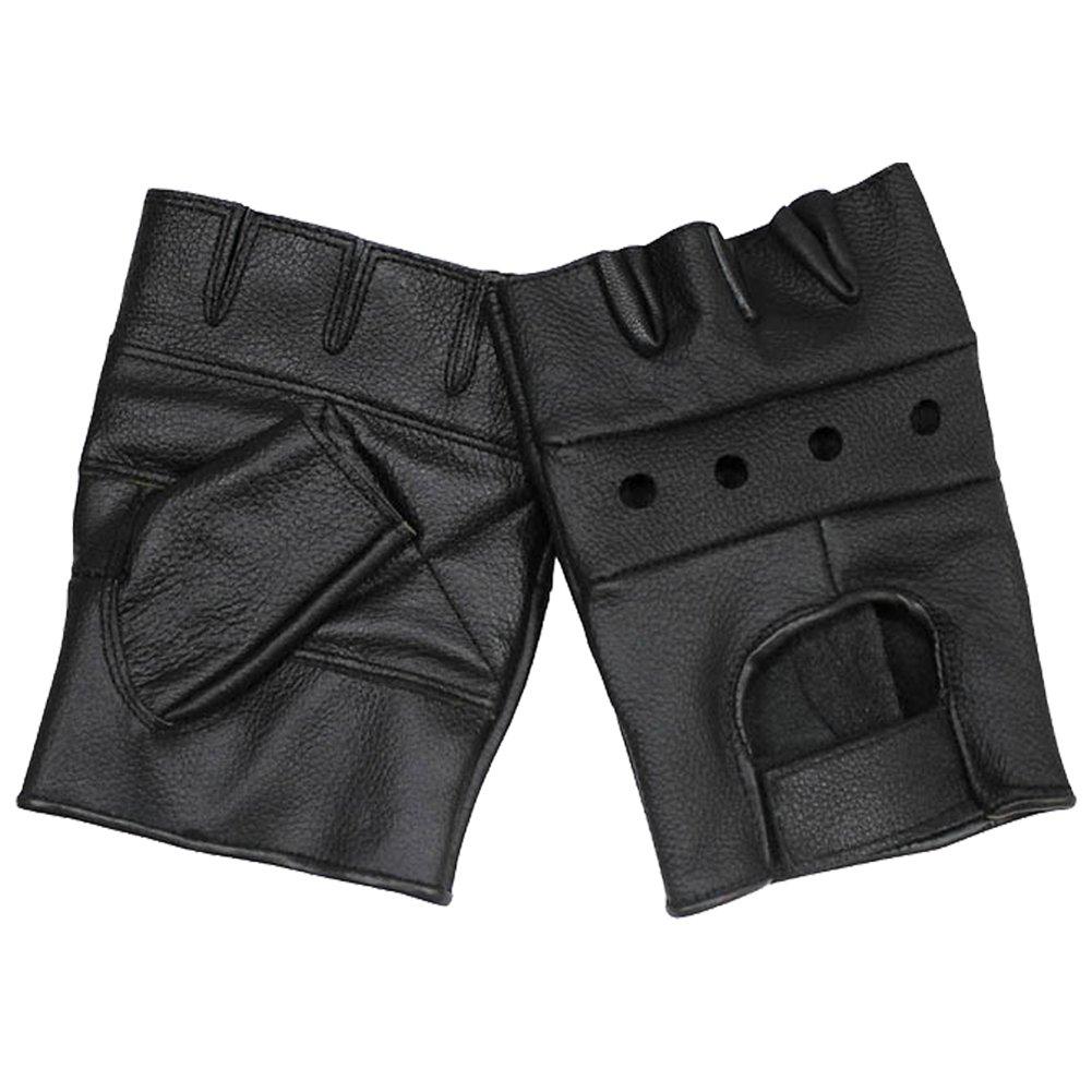 MFH Mens Fingerless Gloves Deluxe Black