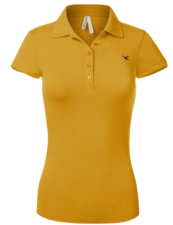 Slim Fit Long Waist Short Sleeve Plain Polo Tee Shirts, US L, 102-Mustard