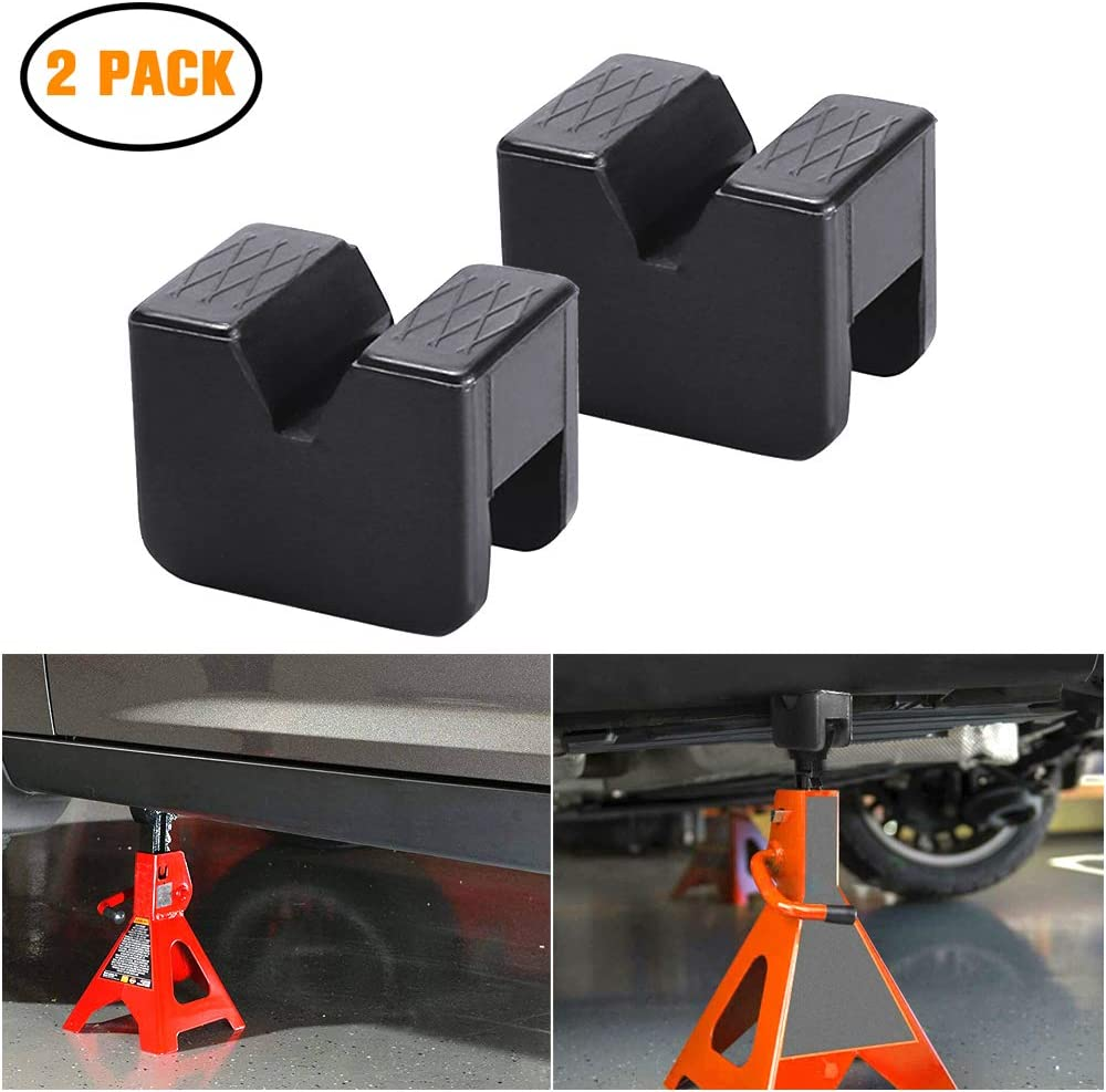 Paint and Metal Protector Rubber Jack Pads for Jack Stands Universal Slotted Frame Rail Protector Pinch Weld Pack of 2