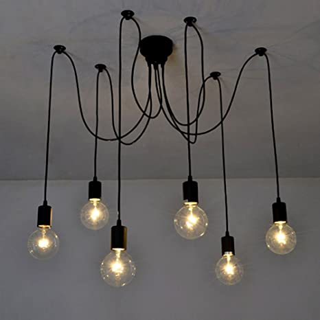 Fuloon Vintage Edison Multiple Ajustable DIY Ceiling Spider L& Light Pendant Lighting Chandelier Modern Chic Industrial : pendant lighting cable - www.canuckmediamonitor.org