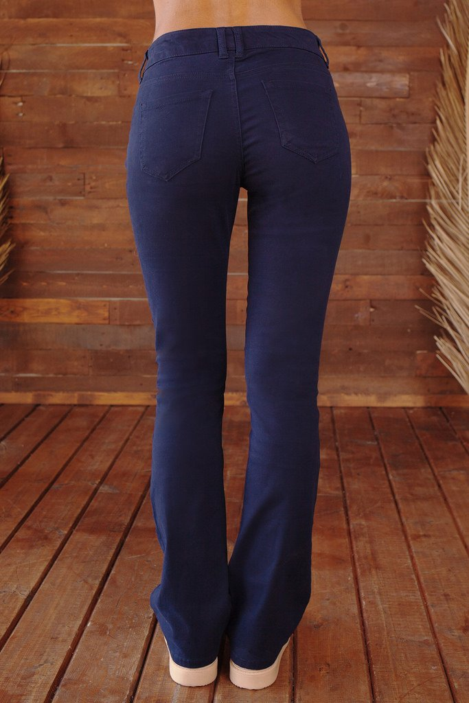 Bebop Women's Size 7, Navy, 5 Pocket Bootcut Stretch Cotton Twill Chino Pant by Be Bop (Image #4)