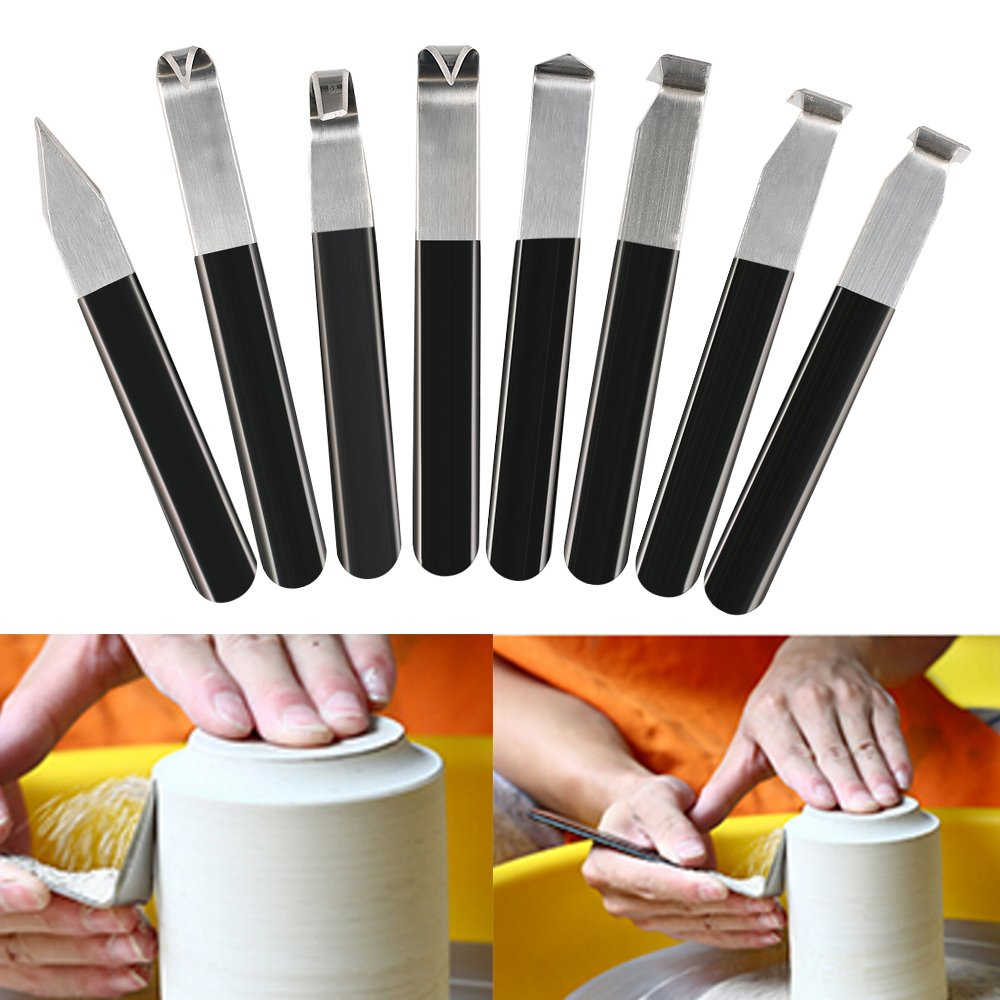 Toolbit Pottery Shaping Knives, Stainless Steel Carving Clay Sculpture Hand Cutter, Craft Trimming Artist Ceramic Tool Set for Clay Sculpture, Shaping, Carving, Modeling