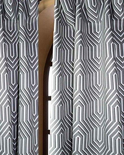 "Roman Maze Printed cotton curtain/panel with rod pocket (52""W X 120""L)"