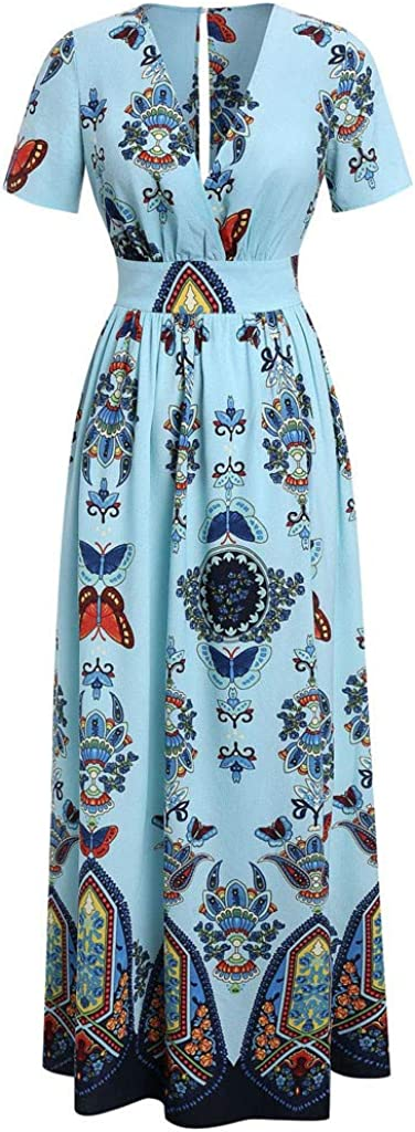 Dresses for Women Butterfly Printed Maxi Dress Short Sleeve V-Neck Casual Party Tunic Long Sundress