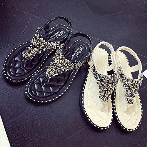 femminile con bianca fibbia FJJJDJKCF di sandali bottoni estate Nuova diamante moda con punta 7wqYC