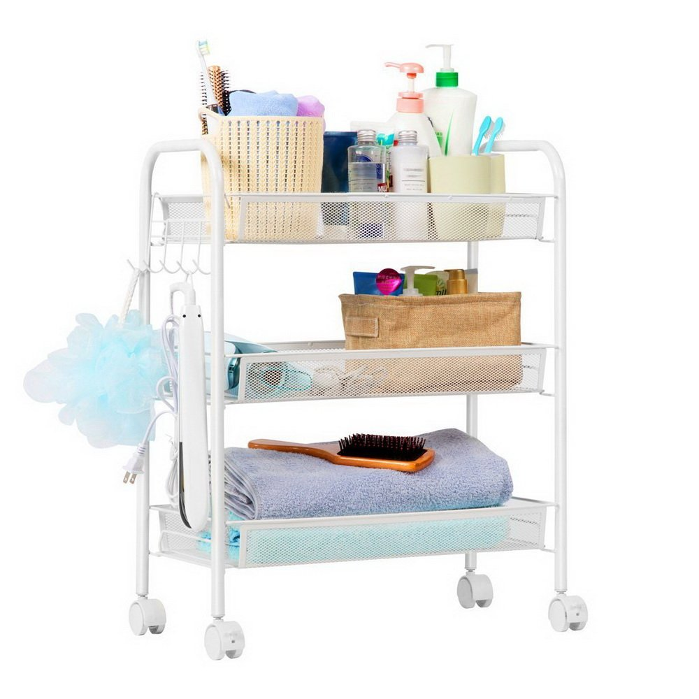Exquisite Honeycomb Net Three Tiers Storage Cart with Hook (Black/Ivory White Optional) (Ship from US) (Color : Ivory White)