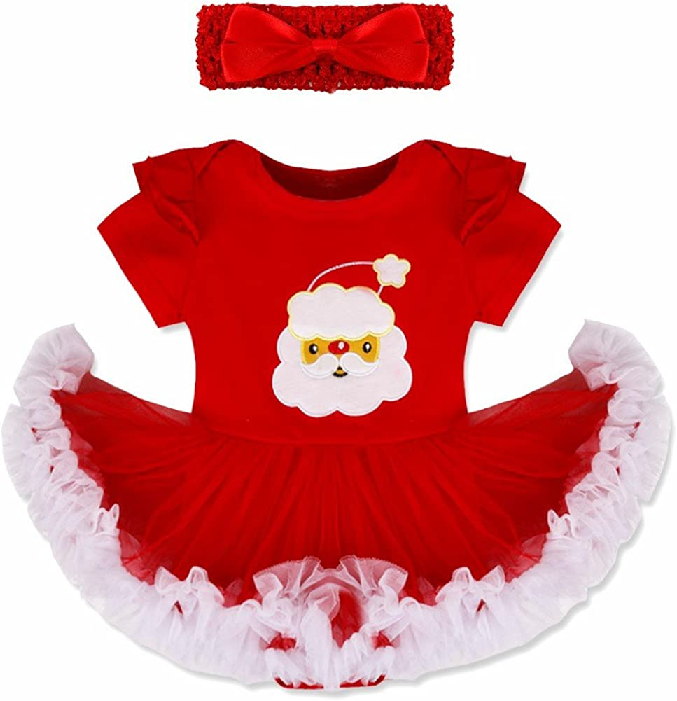 iiniim Infant Baby Girls 2PCS Christmas Outfit Tutu Romper Dress with Headband Set