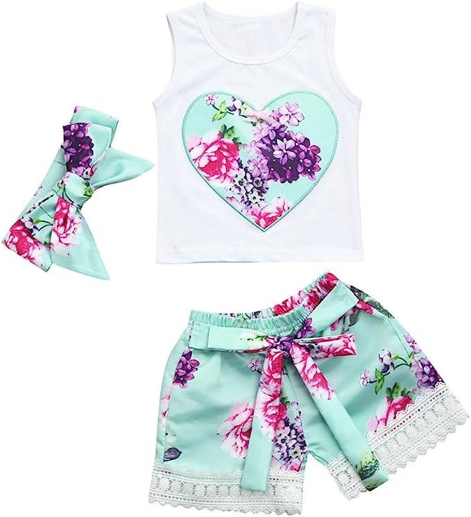 Amazon.com: Jchen (TM) - Set de verano para bebés y niñas, 3 ...