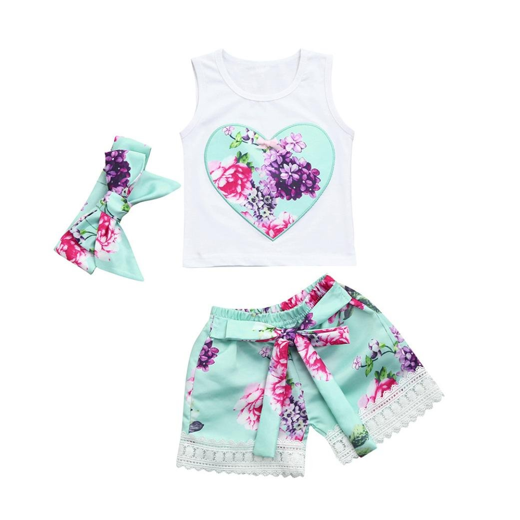 Baby Girls Summer Sets,Jchen(TM) Clearance Hot Sales 3 PCS Toddler Infant Baby Girls Floral Heart Sleeveless Tops+Floral Shorts+Headband Outfits for 0-3 Years Old (Age: 2-3 Years Old)