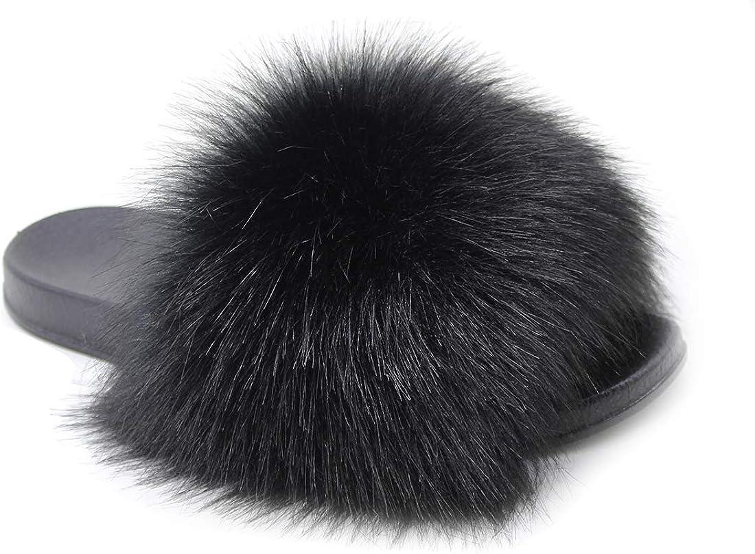 furry black slippers
