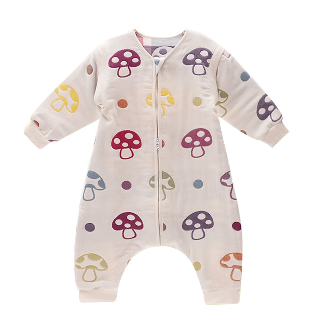 DaiShuGuaiGuai Baby Ganzjahres Schlafsack mit Füßen (Mehrfarbig) (Pilze) (L 80-90CM) DSGG-6C-MG