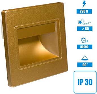 Lámpara LED empotrable para pared o escalera, iluminación interior, color dorado, Set de 3 1.00watts 230.00volts: Amazon.es: Iluminación