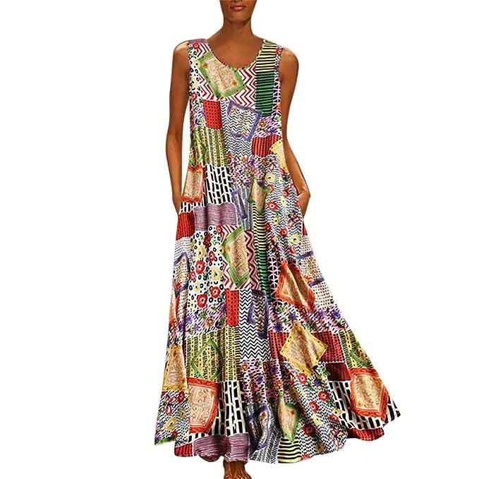 DondPO Women Vintage Bohemian Folk Dresses Summer V-Neck ...