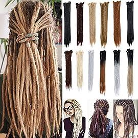 20″ 100% Handmade Dreadlocks Extensions Fashion Reggae Hair Soft Faux Locs Crochet Havana Mambo Twist Braiding Hair Ombre Color For Women/Men (5 Strands,Ash Blonde)