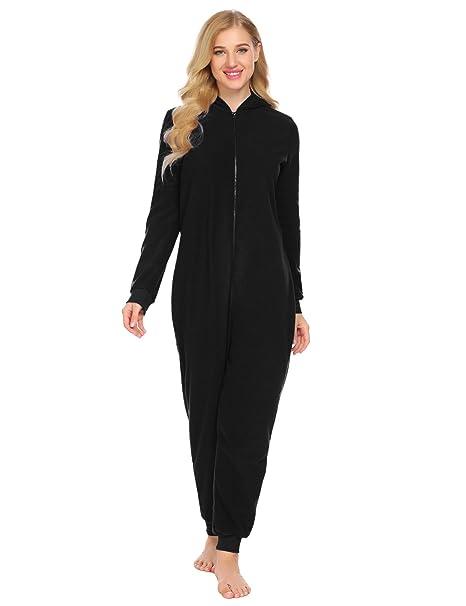aa895675e0 L amore Women Onesie Pajamas Long Sleeve Hooded Solid Fleece Playsuit  Nightwear Jumpsuit For Winter