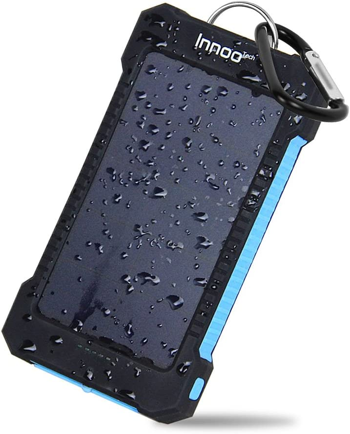 Innoo Tech 10000mAh Solar Charger with Sunpower Panel, Outdoor Solar Power Bank, Solar Battery Charger , Dual USB Port with Led Light, Waterproof, ...