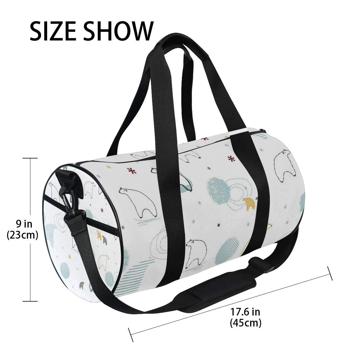 Sports Gym Duffel Barrel Bag Kawaii Polar Bear Save Travel Luggage Handbag for Men Women