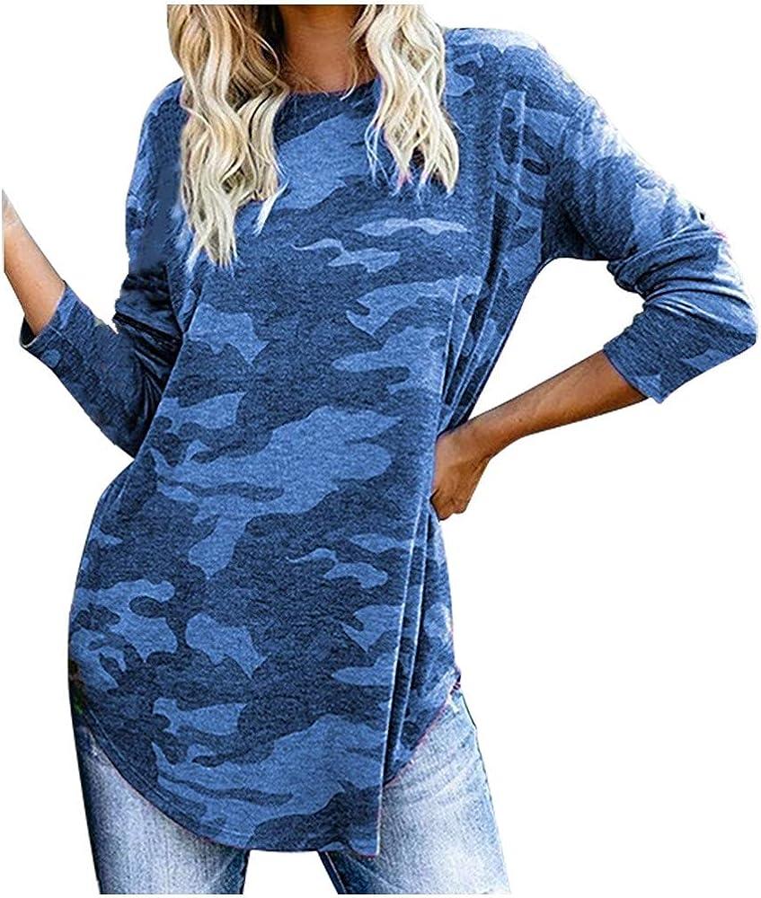 Camisa Mujer Vestido Camisa Talla Grande Blusa Mujer Blusa Amplias Tapas Top Blusa De Mujer Asimétrica Camuflaje Tops Largos Jersey Shirt Otoño Invierno Playa Luckycat: Amazon.es: Ropa y accesorios