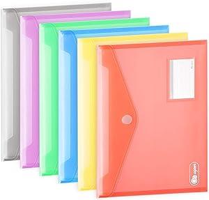 Poly Envelopes 24 Pack A4 Letter Size Colorful Document File Envelopes Folder with Label Pocket, Plastic Filing Envelopes Organizers for School Home Office Work, Hook & Loop Closure, Assorted Color